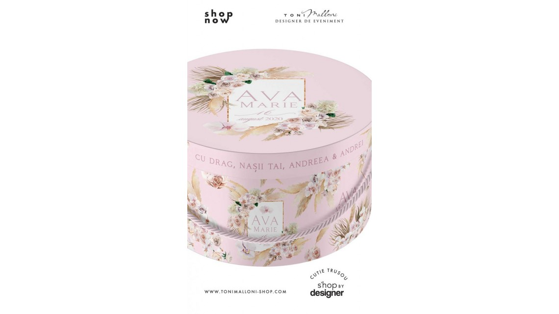 Cutie de botez trusou rotunda design pampass grass in gold alb si roz 2