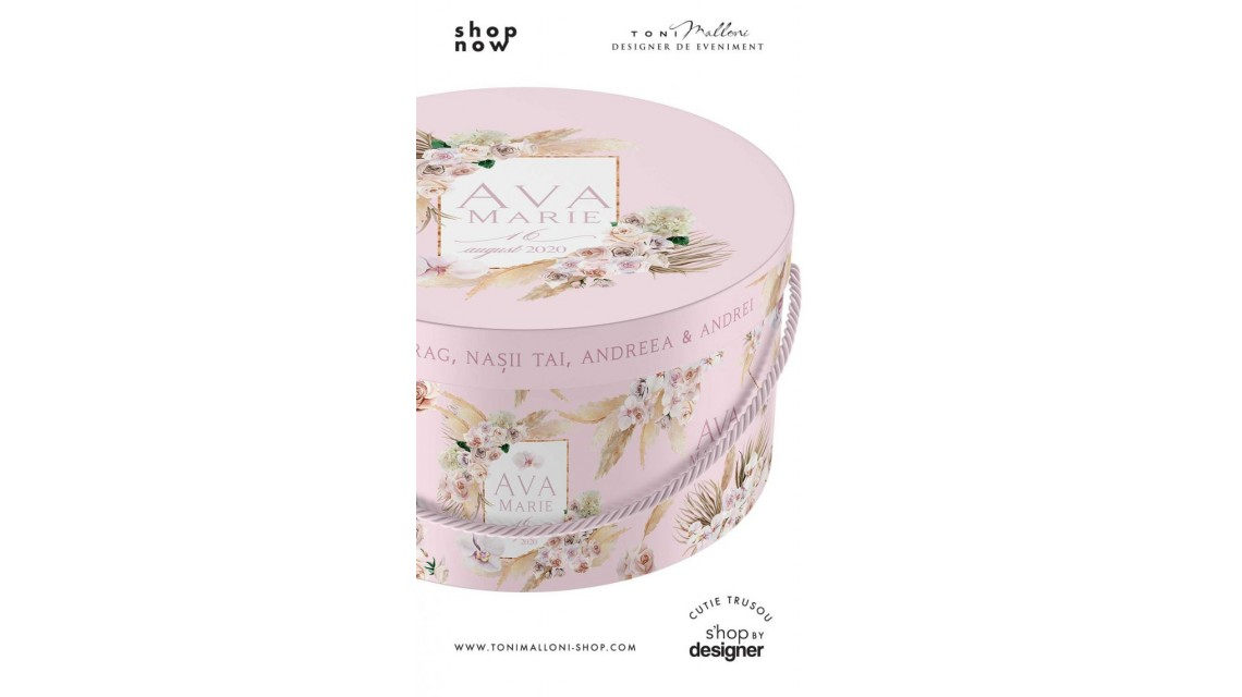 Cutie de botez trusou rotunda design pampass grass in gold alb si roz 1