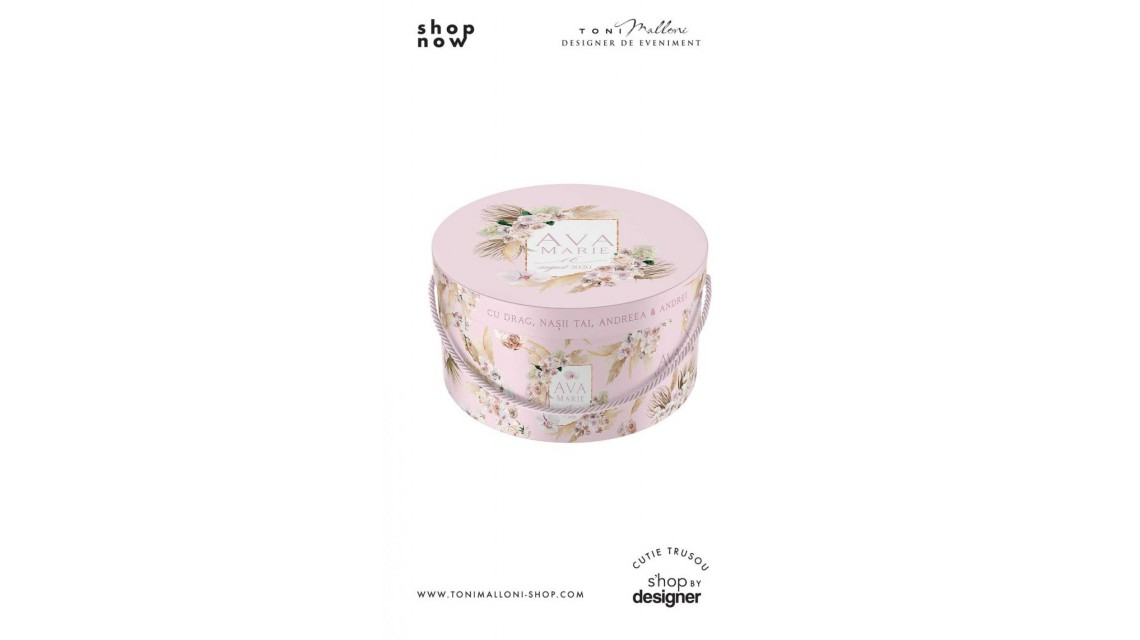 Cutie de botez trusou rotunda design pampass grass in gold alb si roz 3