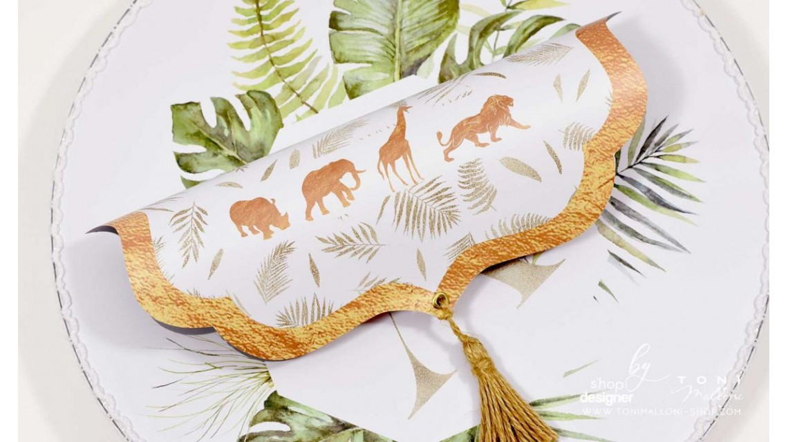 Trusou de botez cu animale gold din jungla si pattern frunze palmier Gold Jungle Tropical 19
