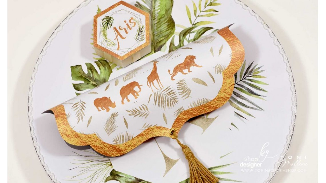 Trusou de botez cu animale gold din jungla si pattern frunze palmier Gold Jungle Tropical 27